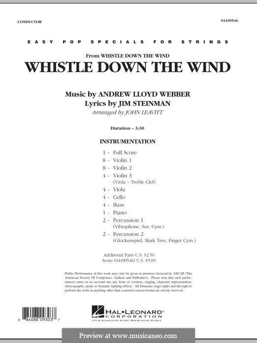 Whistle Down the Wind (from Whistle Down the Wind): Vollpartitur by Andrew Lloyd Webber