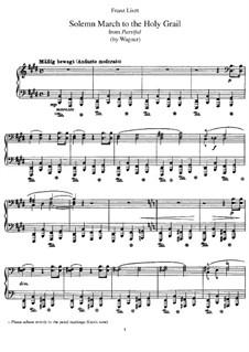 Transkription über Thema aus 'Parsifal' von Wagner, S.450: Für Klavier by Franz Liszt