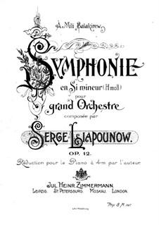 Sinfonie in h-Moll, Op.12: Bearbeitung für Klavier, vierhändig by Sergei Lyapunov