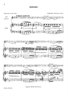Fünf Lieder, Op.5: No.1 Autumn, for violin (or cello) and piano by Ethelbert Woodbridge Nevin