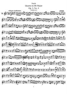 Streichquartett in B-Dur, Hob.III/16 Op.3 No.4: Stimmen by Joseph Haydn