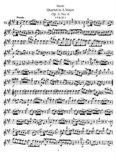 Streichquartett in A-Dur, Hob.III/18 Op.3 No.6: Stimmen by Joseph Haydn