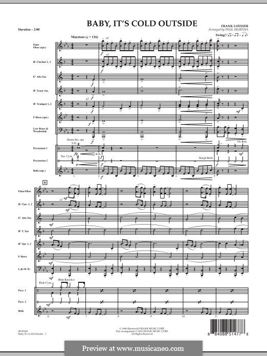Baby, It's Cold Outside (arr. Paul Murtha): Vollpartitur by Frank Loesser