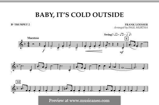 Baby, It's Cold Outside (arr. Paul Murtha): Bb Trumpet 2 part by Frank Loesser