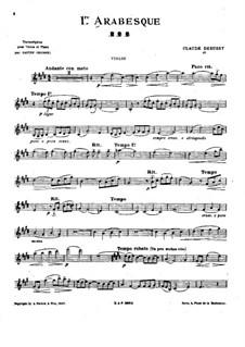 Zwei Arabesken, L.66: Arabeske Nr.1, für Violine und Klavier – Solo Stimme by Claude Debussy