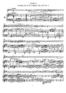 Sonate für Violine und Klavier Nr.6, Op.30 No.1: Partitur für zwei Interpreten, Solostimme by Ludwig van Beethoven