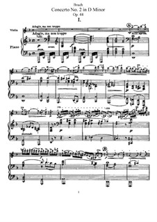 Violinkonzert Nr.2 in d-Moll, Op.44: Bearbeitung für Violine und Klavier – Partitur, Solo Stimme by Max Bruch