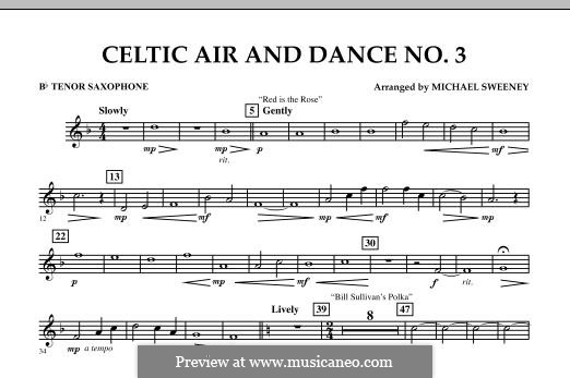 Celtic Air and Dance No.3: Bb Tenor Saxophone part by folklore