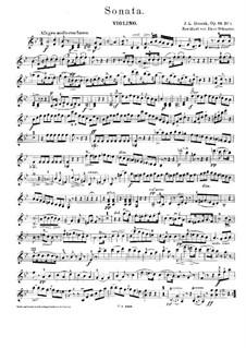 Drei Sonaten, Op.69: Sonate für Klavier und Violine Nr.1 – Violinstimme, Craw 240 by Jan Ladislav Dussek