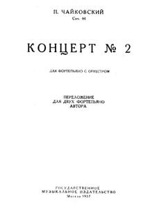 Konzert für Klavier und Orchester Nr.2 in G-Dur, TH 60 Op.44: Teil I, für zwei Klaviere by Pjotr Tschaikowski
