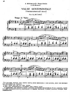Sechs Stücke für Klavier, TH 143 Op.51: Nr.6 Sentimentaler Walzer by Pjotr Tschaikowski