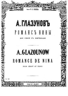 Musik zum Drama 'Masquerada'. Romance of Nina, Op.102: Musik zum Drama 'Masquerada'. Romance of Nina by Alexander Glazunov