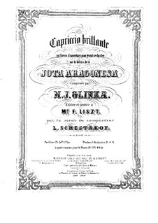 Jota Aragonesa: Für Klavier, vierhändig by Michail Glinka