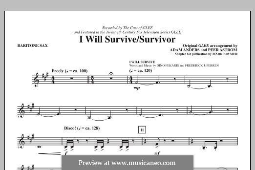 I Will Survive / Survivor (Glee Cast): Baritone Sax part by Adam Anders, Peer Åström