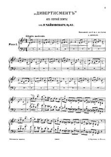 Suite Nr.1 in d-Moll, TH 31 Op.43: Nr.2 Divertimento, für zwei Klaviere – Klavierstimme I by Pjotr Tschaikowski