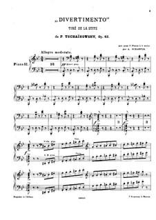 Suite Nr.1 in d-Moll, TH 31 Op.43: Nr.2 Divertimento, für zwei Klaviere – Klavierstimme II by Pjotr Tschaikowski