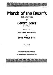 Lyrische Stücke, Op.54: Nr.3 Zug der Zwerge, für zwei Klaviere, vierhändig by Edvard Grieg