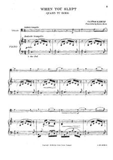 Quand du dors (When You Slept): Für Cello und Klavier by Halfdan Kjerulf