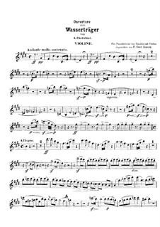 Die zwei Tage: Ouvertüre, für Violine und Klavier, vierhändig – Violinstimme by Luigi Cherubini