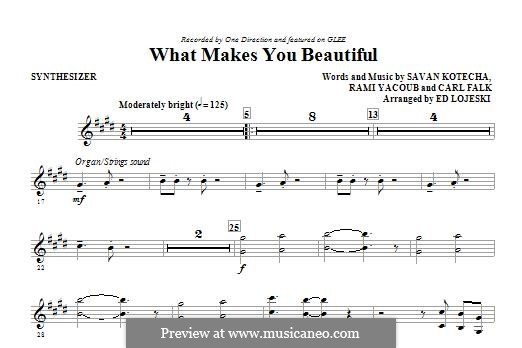 What Makes You Beautiful (One Direction): Synthesizer part by Carl Falk, Savan Kotecha