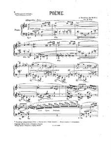 Zwei Gedichte, Op.69: Für Klavier by Alexander Skrjabin