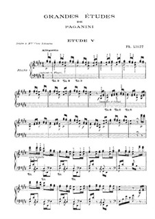 Grosse Etüden nach Paganini, S.141: Nr.5 in E-Dur by Franz Liszt