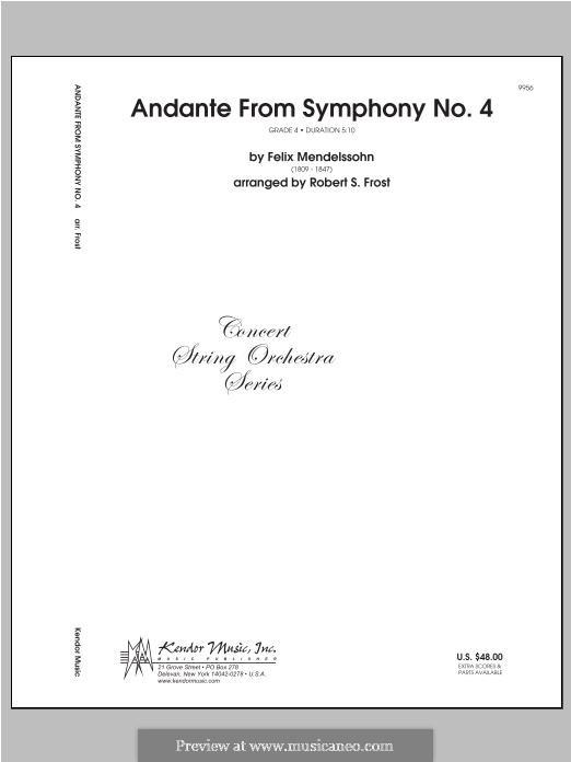 Sinfonie Nr.4 in A-Dur 'Italienische', Op.90: Andante, for strings - full score by Felix Mendelssohn-Bartholdy