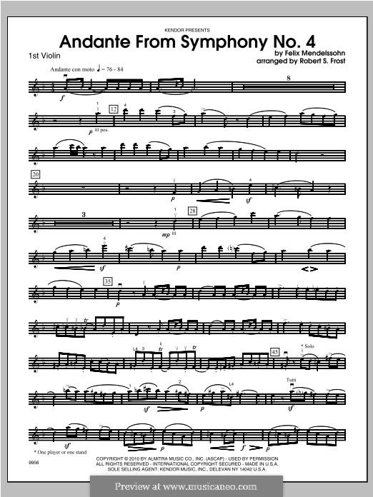 Sinfonie Nr.4 in A-Dur 'Italienische', Op.90: Andante, for strings - violin 1 part by Felix Mendelssohn-Bartholdy