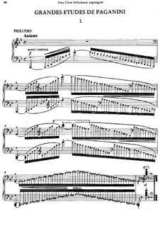 Grosse Etüden nach Paganini, S.141: Nr.1 in g-Moll by Franz Liszt