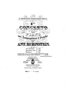 Konzert für Klavier und Orchester Nr.4 in d-Moll, Op.70: Version für zwei Klaviere, vierhändig by Anton Rubinstein