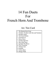 14 Fun Duets: For french horn and trombone by folklore