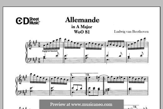 Allemande in A-Dur, WoO 81: Für Klavier by Ludwig van Beethoven