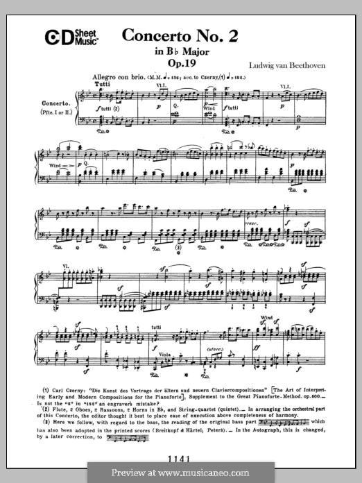 Konzert für Klavier und Orchester Nr.2, Op.19: Für Klavier by Ludwig van Beethoven