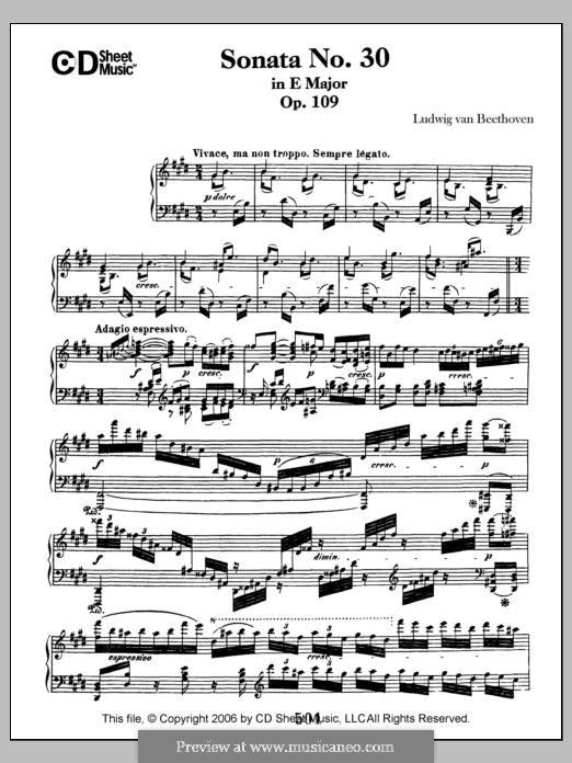 Sonate für Klavier Nr.30, Op.109: Für einen Interpreten by Ludwig van Beethoven