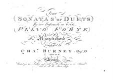 Vier Sonaten oder Duette für zwei Klaviere (oder Cembalos), vierhändig: Vier Sonaten oder Duette für zwei Klaviere (oder Cembalos), vierhändig by Charles Burney