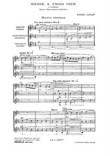 Messe für drei Stimmen: Singpartitur by André Caplet