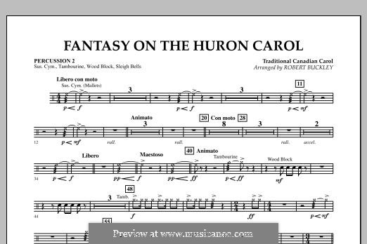Fantasy on the Huron Carol: Percussion 2 part by folklore