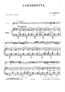 Canzonetta Nr.1, Op.6: Partitur by Alfredo D'Ambrosio