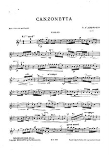 Canzonetta Nr.1, Op.6: Solostimme by Alfredo D'Ambrosio