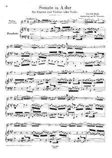 Sonate für Violine und Cembalo Nr.2 in A-Dur, BWV 1015: Bearbeitung für Violine (oder Bratsche) und Klavier by Johann Sebastian Bach