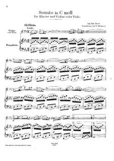 Sonate für Violine und Cembalo Nr.4 in c-Moll, BWV 1017: Bearbeitung für Violine (oder Bratsche) und Klavier by Johann Sebastian Bach