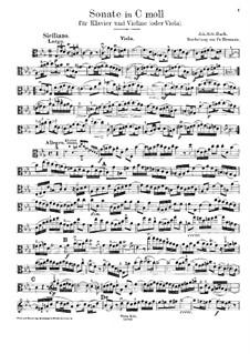 Sonate für Violine und Cembalo Nr.4 in c-Moll, BWV 1017: Bearbeitung für Violine (oder Bratsche) und Klavier – Bratschenstimme by Johann Sebastian Bach