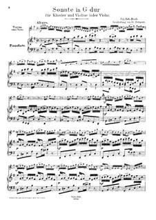 Sonate für Violine und Cembalo Nr.6 in G-Dur, BWV 1019: Bearbeitung für Violine (oder Bratsche) und Klavier by Johann Sebastian Bach