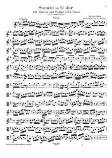 Sonate für Violine und Cembalo Nr.6 in G-Dur, BWV 1019: Bearbeitung für Violine (oder Bratsche) und Klavier – Bratschenstimme by Johann Sebastian Bach