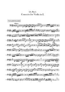 Konzert für Violine, Streicher und Basso Continuo Nr.2 in E-Dur, BWV 1042: Cello- und Kontrabassstimme by Johann Sebastian Bach