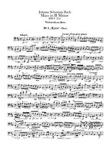 Vollständiger Messe: Cello- und Kontrabass-Stimme by Johann Sebastian Bach