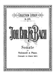 Sonate in D-Dur, BR BInc3: Partitur für Cello und Klavier by Johann Christoph Friedrich Bach