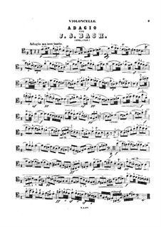 Sonate für Violine und Basso Continuo in e-Moll, BWV 1023: Adagio. Bearbeitung für Cello und Klavier – Solo Stimme by Johann Sebastian Bach