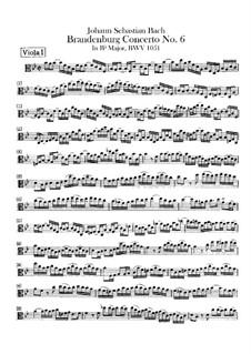 Brandenburgisches Konzert Nr.6 in B-Dur, BWV 1051: Stimme der Viola da braccio I by Johann Sebastian Bach