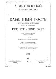 Der steinerne Gast: Klavierauszug mit Singstimmen by Alexander Sergeyevich Dargomyschski